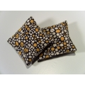 2 Pillows in Black-White-Yellow Stone Pattern
