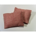2 Pillows in Brick Red Check Pattern
