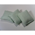3 Pillows in Light Blue Check Pattern