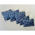 5 Pillows in Blue Mosaic Pattern