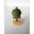 Small Gold Buddha Head on Natural Base