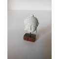 Small White Buddha Head on Rosewood Base