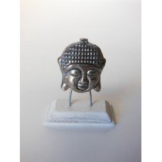 Small Silver Buddha Head on White Base