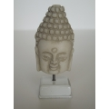 Large Buddha Head on White Base