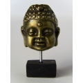 Small Gold Buddha Head on Black Base