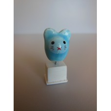 Cat Head Sculpture on White Base