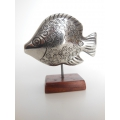 Large Fish Sculpture on Wood Base