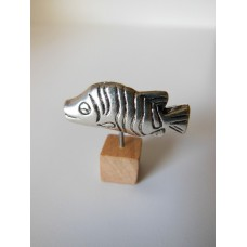 Small Fish Sculpture on Natural Wood Base