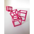 Cubed Art Sculpture in Fuschia