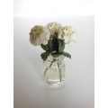 3 White Flowers in Clear Jar