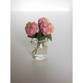 3 Pink Flowers in Clear Jar