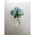 3 Blue Flowers in Clear Jar