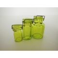 3 Green Glass Canister Jar Set