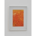Poster Frame with White Matte and Abstract Orange Print