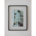 Black Poster Frame with White Matte and Abstract Birch Print