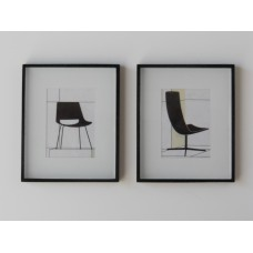 Pair of Black Framed Modern Chair Prints