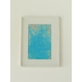Poster Frame with White Matte and Abstract Blue Print