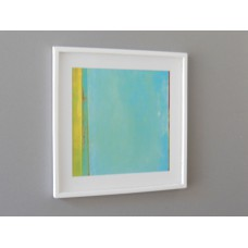 White Framed Turquoise/Yellow Modern Print