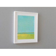 Small White Framed Turquoise/Yellow Modern Print