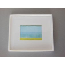 Small White Framed Light Blue/Yellow Modern Print