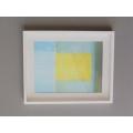 White Framed Light Blue/Yellow Modern Print