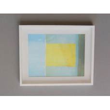 White Framed Light Blue/Yellow Modern Print