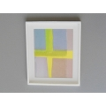White Framed Blue/Yellow/Gray Modern Print