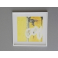 White Framed Yellow I Abstract Print