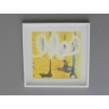 White Framed Yellow II Abstract Print