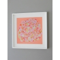 White Framed Coral Burst Abstract Print