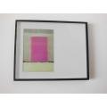 Black Offset Framed Pink Abstract Print