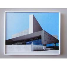 Modern Concrete Building Print White Frame