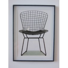 Bertoia Wire Chair Print Black Frame