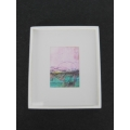 Medium pink/Turquoise Abstract Print White Frame