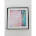 Medium Pink/Turquoise Abstract Print Black Frame