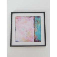 Medium Pink/Turquoise Abstract Print Black Frame