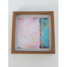 Medium Pink/Turquoise Abstract Print Wood Frame