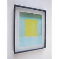 Black Framed Turquoise/Yellow Modern Print
