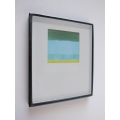 Small Black Framed Turquoise/Yellow Modern Print