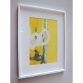 White Framed Yellow V Abstract Print