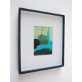 Medium Black Framed Turquoise Modern Print