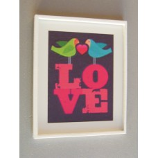 LOVE Birds Print White Frame