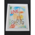 Large Love Paris Print Thick White Frame