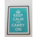 """Keep Calm Carry On"" White/Turquoise Print Black Frame"