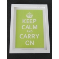 """Keep Calm Carry On"" White/Lime Green Print Thick White Frame"