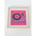 Record Player Print Wood Frame
