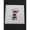 Dog with Red Headphones White Frame
