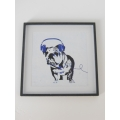 Dog with Blue Headphones Black Frame