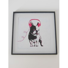 Dog with Pink Headphones Black Frame