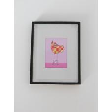 Small Baby Girl Birds Print Black Frame